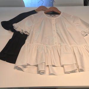 2 Madewell ruffle blouses.